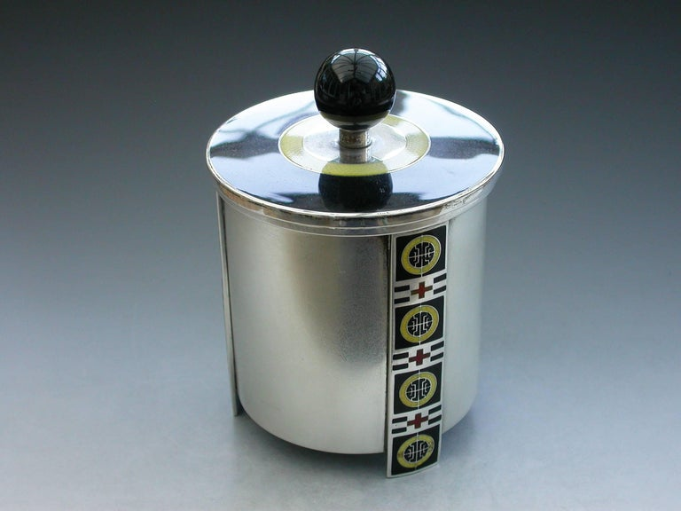 Norwegian Silver and Enamel Art Deco Tea Caddy by David Anderson, circa 1930 In Good Condition For Sale In Sittingbourne, Kent