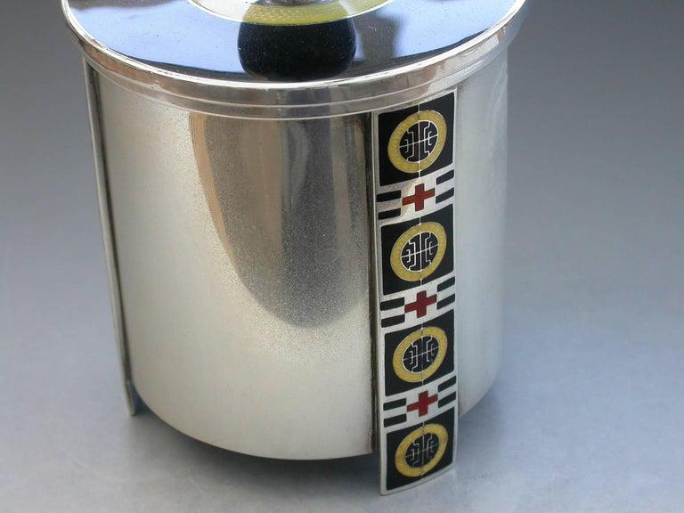 Mid-20th Century Norwegian Silver and Enamel Art Deco Tea Caddy by David Anderson, circa 1930 For Sale