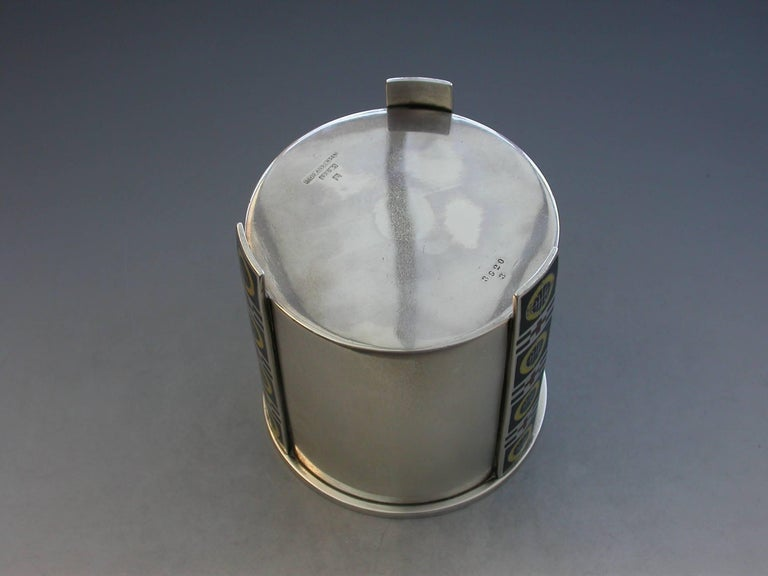 Norwegian Silver and Enamel Art Deco Tea Caddy by David Anderson, circa 1930 For Sale 3