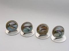Rare Set 4 Edwardian Silver & Enamel Fish Menu Holders By S Mordan 1905 - 1908