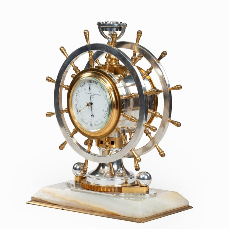 Unusual Victorian Double Steering-Wheel Desk Clock and Barometer - Antique French Brass Desk Clock Barometer By CH Depose At 1stdibs
