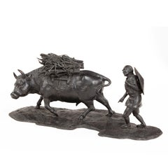 Signed Japanese Bronze of a Farmer with an Ox