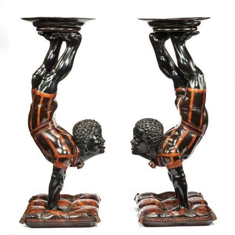 19th Century Exceptional Venetian Blackamoor Side Tables For Sale