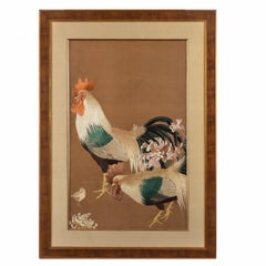 Meiji Period Needlework of Two Cockerels