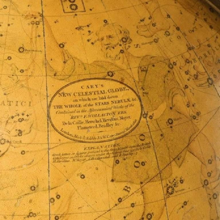 """The terrestrial with cartouche printed """"Cary's New Terrestrial globe exhibiting the tracks and discoveries made by Captain Cook; also those of Captain Vancouver on the North West Coast of America and M.De La Perouse, on the coast of Tartry, together"""