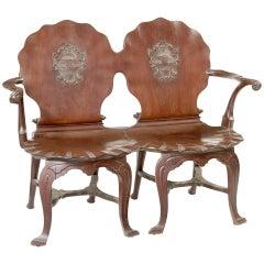 Irish George III Mahogany Double Chair-Back Hall Settee