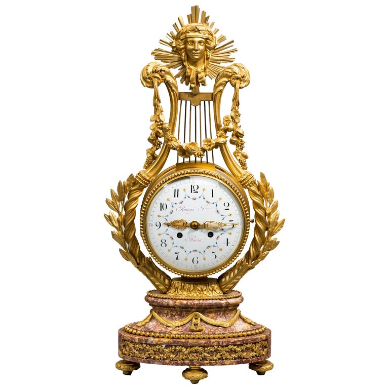 Napoleon III Lyre Clock with Ormolu Hands