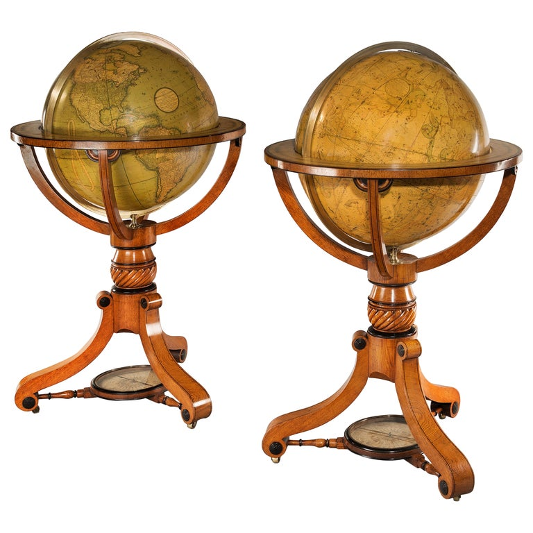 Pair of Cary's Terrestrial and Celestial Library Globes For Sale