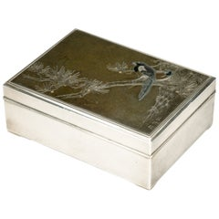 Japanese Silver Box with an Inlaid Mixed Metal Panel