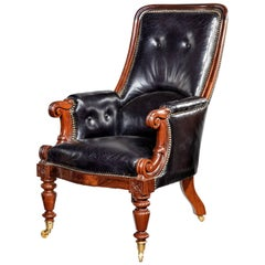 Early Victorian Rosewood Library Chair