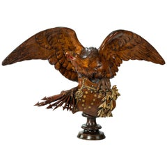 Monumental and Striking 'Black Forest' Walnut Carving of an Eagle