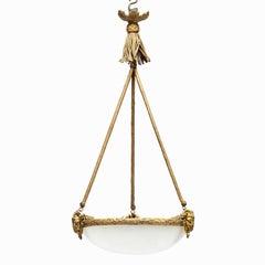 Napoleon III Alabaster Hanging Lamp