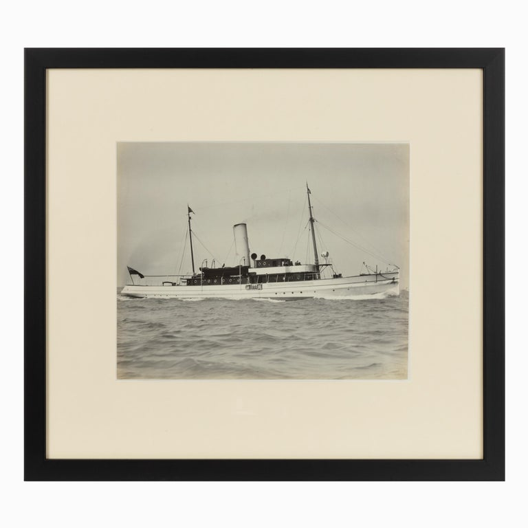Early Silver Gelatin Photographic Print of the Steam Yacht Cressida at Anchor