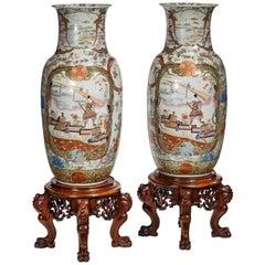 Ein Paar von Fukagawa Polychrome Porzellan-Vasen