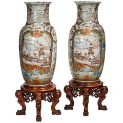 Pair of Fukagawa Polychrome Porcelain Vases