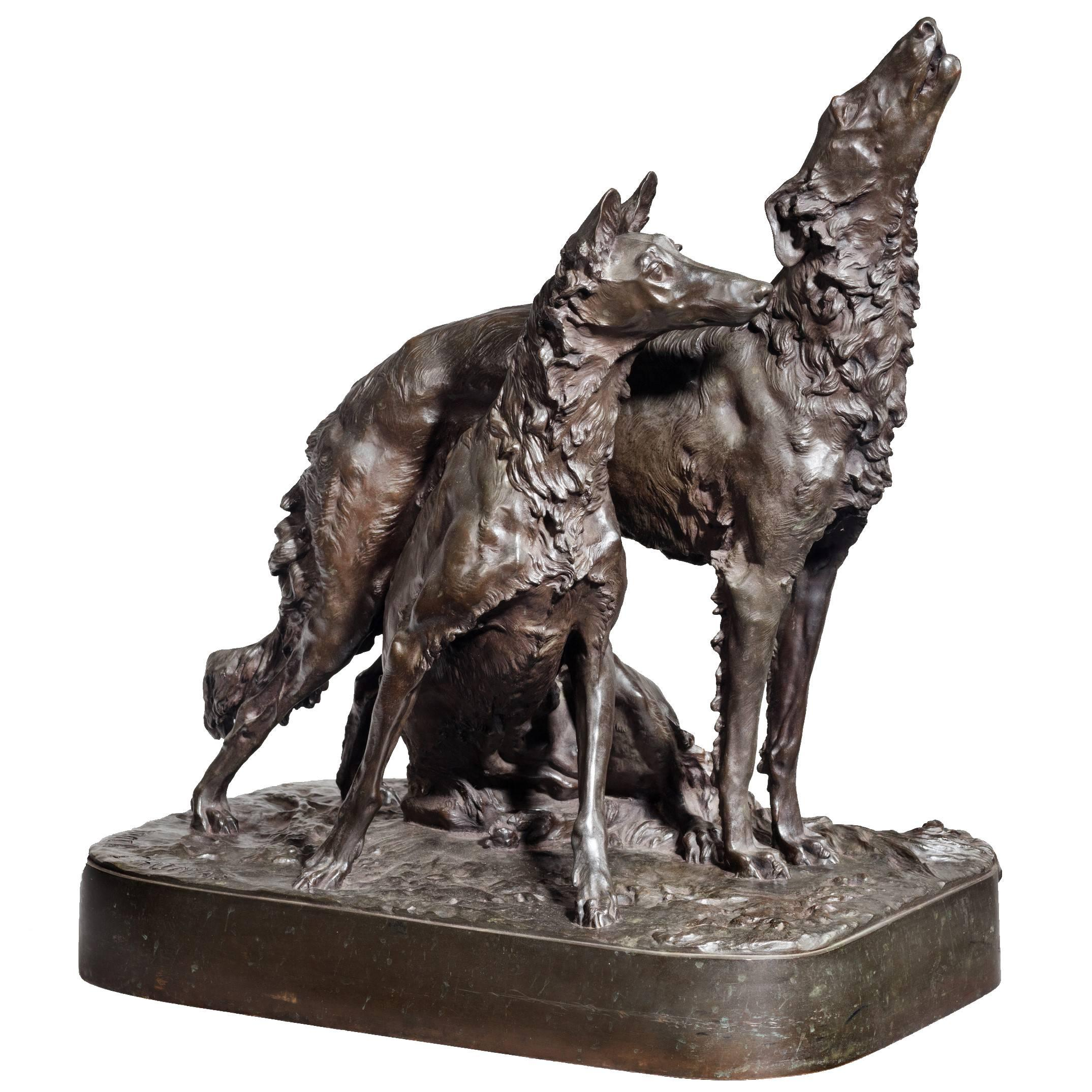 Patinated Bronze Group of Two Hounds by Mark Thomas