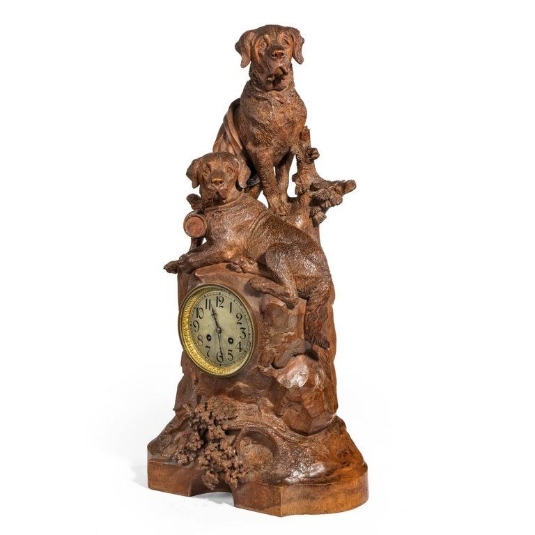 Swiss 'Black Forest' Walnut Clock For Sale