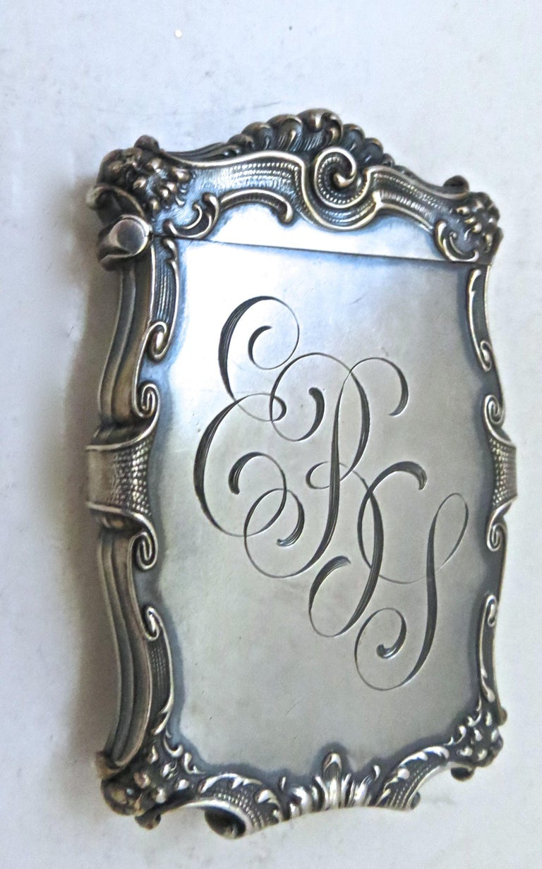 Listed is a fine quality Art Nouveau sterling silver match safe in repousse relief. It is typical of risque bar items used at the turn of the century; depicting as the central theme on one side, an attractive nude female being adored and pursued by