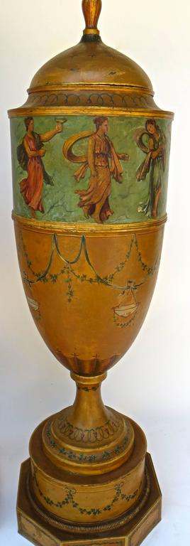 Regency Pair of 19th Century Urns 'Japanned Tole and Copper' For Sale