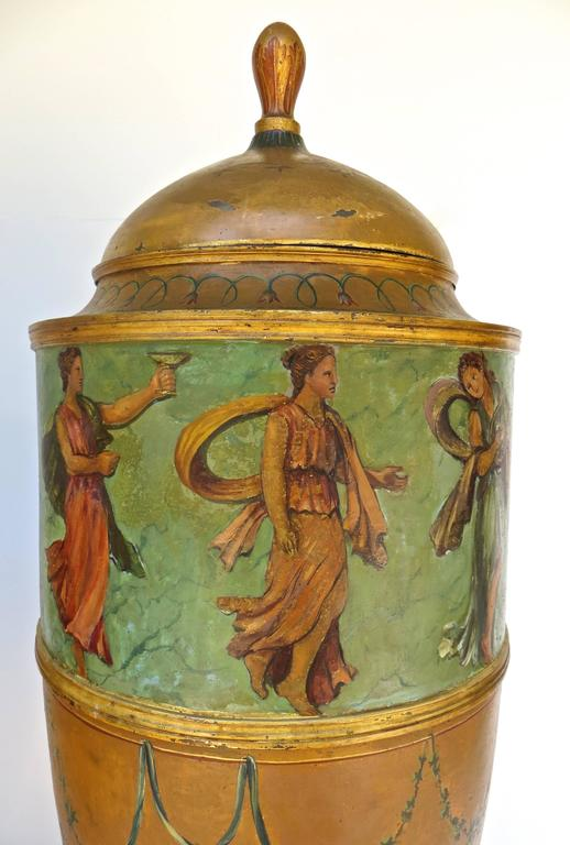 English Pair of 19th Century Urns 'Japanned Tole and Copper' For Sale
