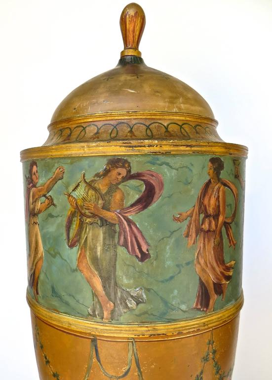 Hand-Painted Pair of 19th Century Urns 'Japanned Tole and Copper' For Sale