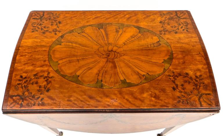 English George III Marquetry Inlaid Pembroke Table Attributed to Mayhew and Ince For Sale
