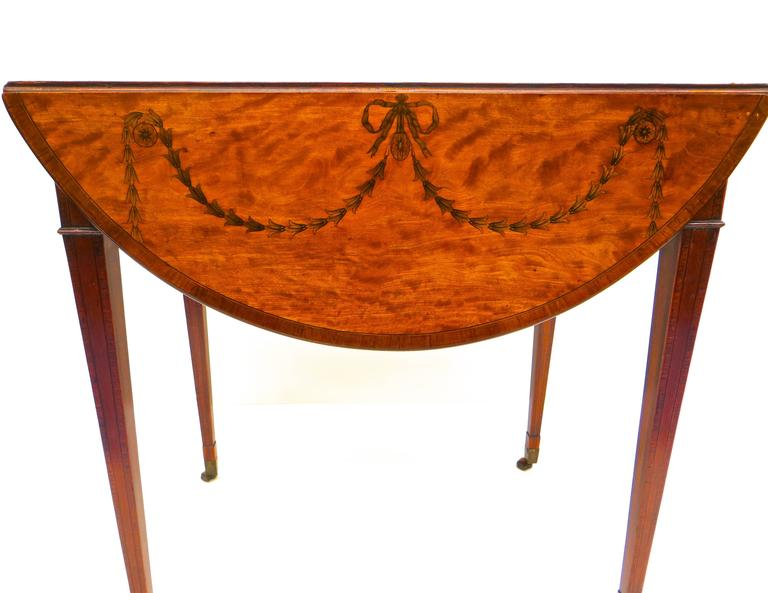 George III Marquetry Inlaid Pembroke Table Attributed to Mayhew and Ince In Good Condition For Sale In Incline Village, NV