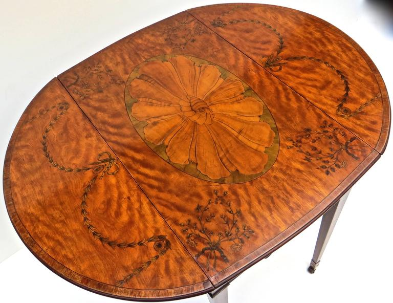 Late 18th Century George III Marquetry Inlaid Pembroke Table Attributed to Mayhew and Ince For Sale