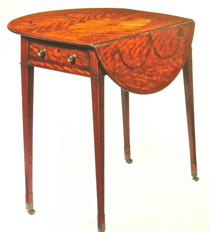 George III Marquetry Inlaid Pembroke Table Attributed to Mayhew and Ince For Sale 3