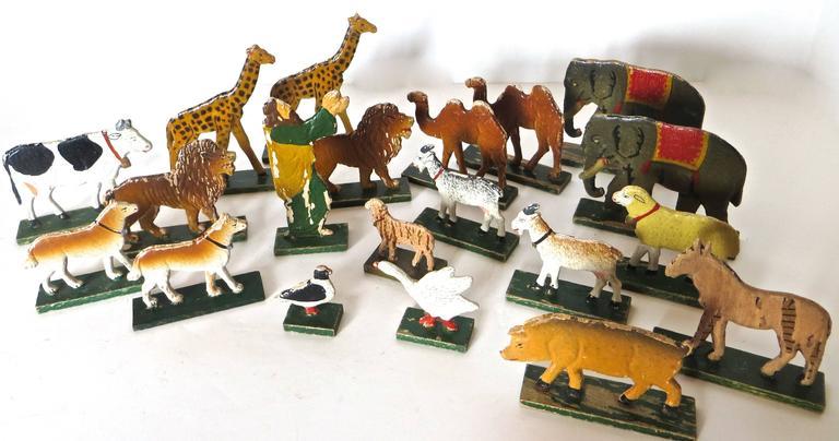 Late 19th Century Flat Bottom Toy Noahs Ark With 20 Animals German