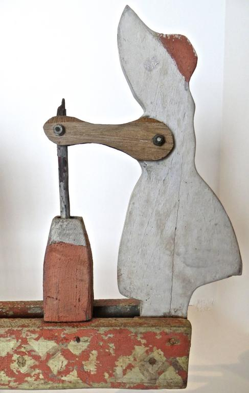 Hand-Crafted Whirligig Depicts Woman Churning Butter, American, circa 1940 For Sale