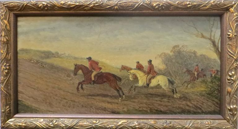 Painted Early 19th Century English Hunting Scene Oil on Board For Sale