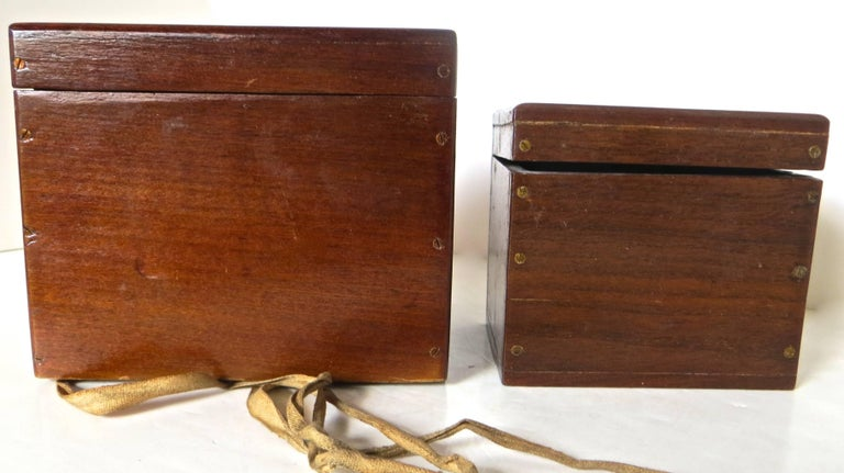 Victorian Magician's Trick Double Wood Boxes with Ties, circa 1890 For Sale