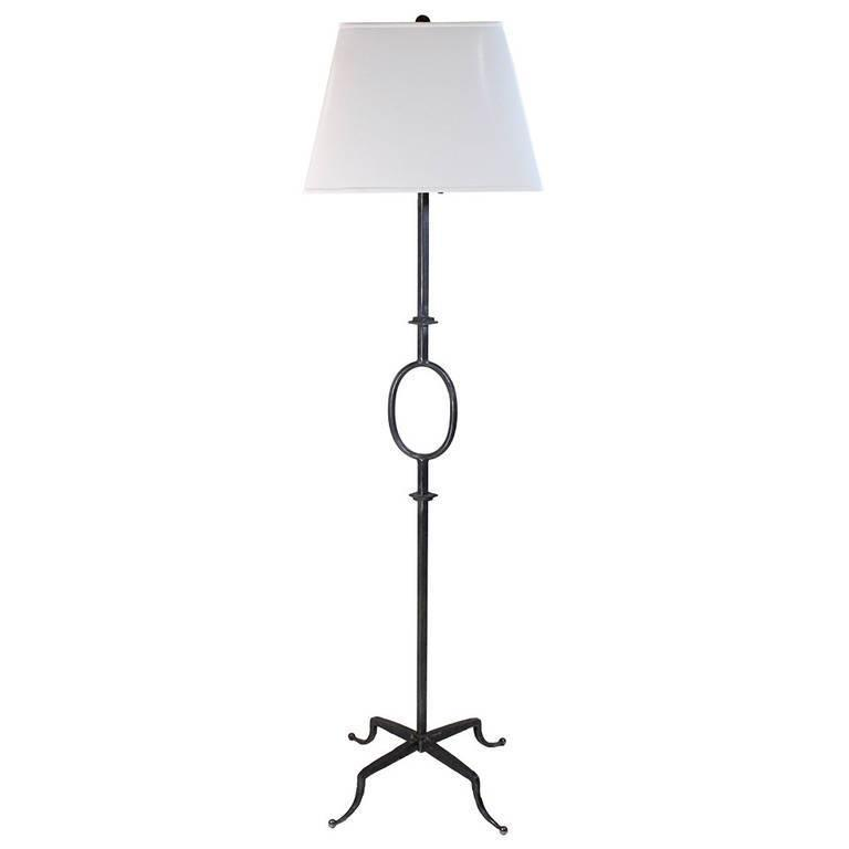 Vintage Iron Floor Lamp Attributed to Poillerat by Mattaliano with Provenance