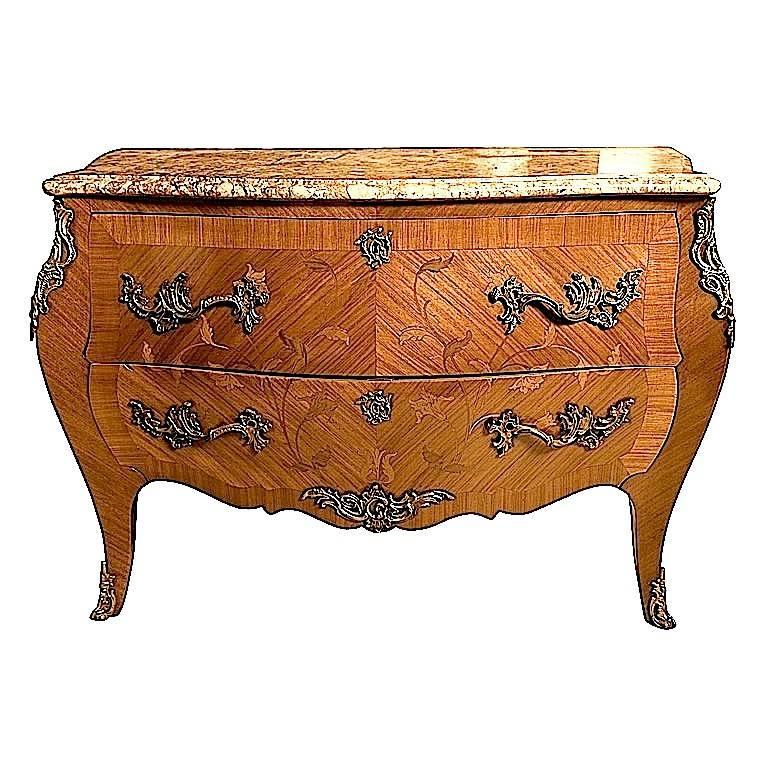 French Louis XV Style Kingwood Floral Marquetry Commode Bombe Chest