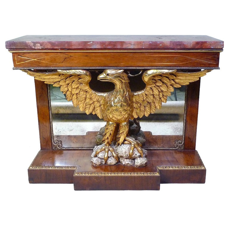 Superb English Regency Rosewood Eagle Console Pier Table, 19th Century For Sale