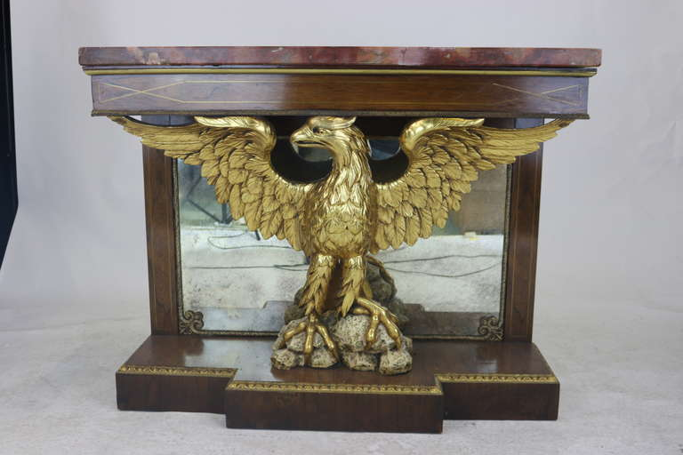 Superb English Regency Rosewood Eagle Console Pier Table, 19th Century In Good Condition For Sale In West Palm Beach, FL