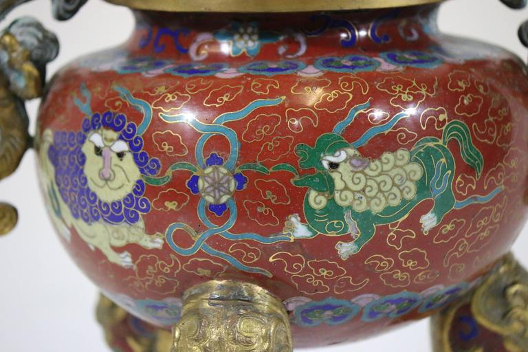 Republic Period Chinese Cloisonne Gilt Tripod Lidded Censer For Sale 3