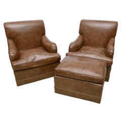 Tycoon's Pair of Luxe Glazed Leather Club Lounge Chairs and ottoman- Provenance