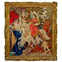 Needlepoint Tapestry of 16th Century Royal English Scene Hawking, 19th Century