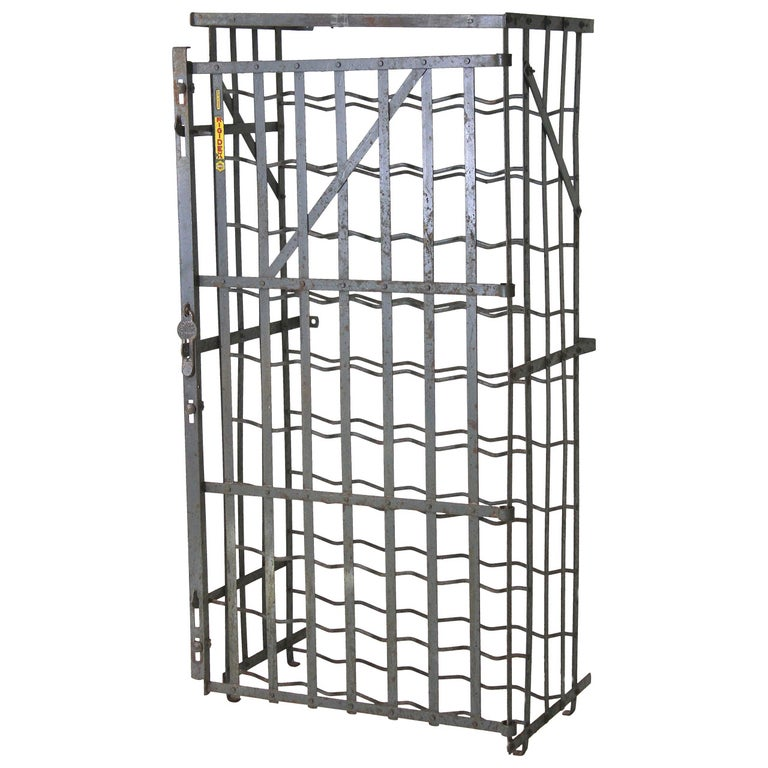 Tycoon's Industrial French 50 Bottle Locking Wine Rack Cage, circa 1930