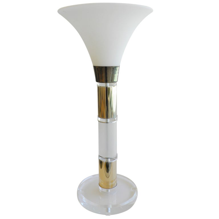 Large Lucite Brass Table Torchiere Lamp, Frosted Glass Shade, 1960s