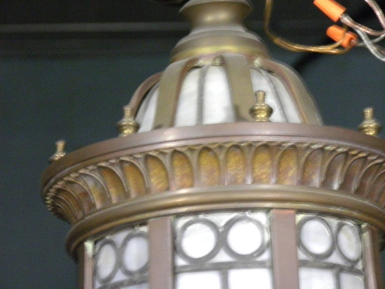 Neoclassical Revival Caldwell Neoclassic Style Bronze Leaded Glass Light Fixture  For Sale