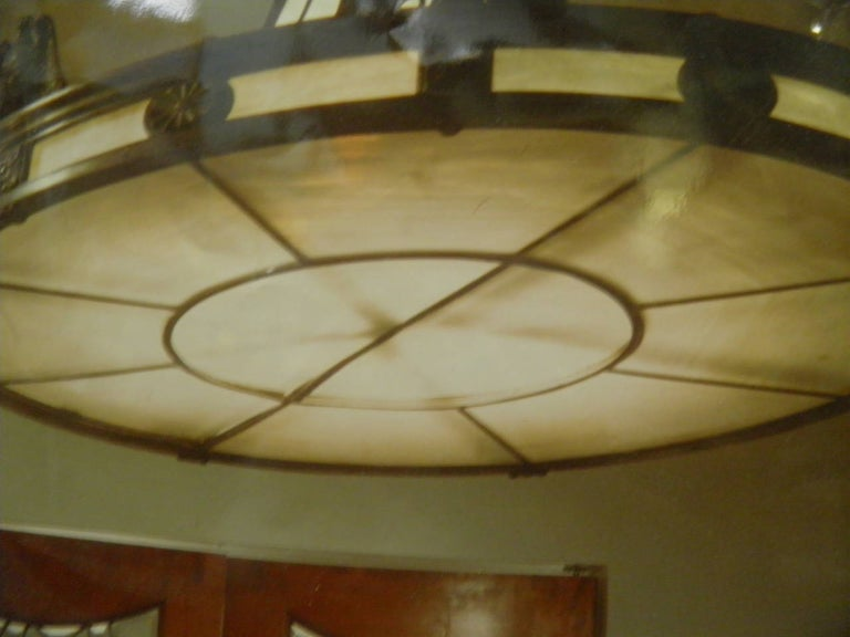 American Caldwell Neoclassic Style Bronze Leaded Glass Light Fixture  For Sale