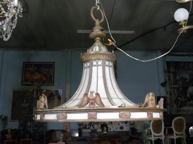 20th Century Caldwell Neoclassic Style Bronze Leaded Glass Light Fixture  For Sale