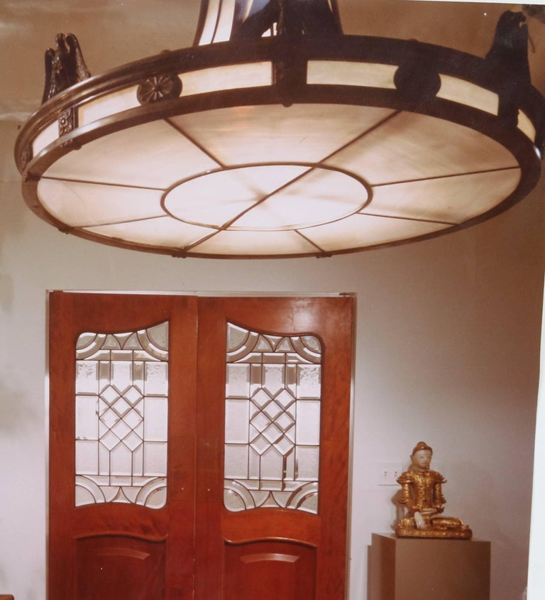 Caldwell Neoclassic Style Bronze Leaded Glass Light Fixture  For Sale 2