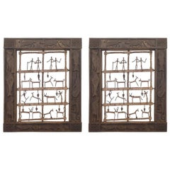 Ethnographic Pair of Wood Carved Animals' Window' Wall Panels- Tycoon Provenance