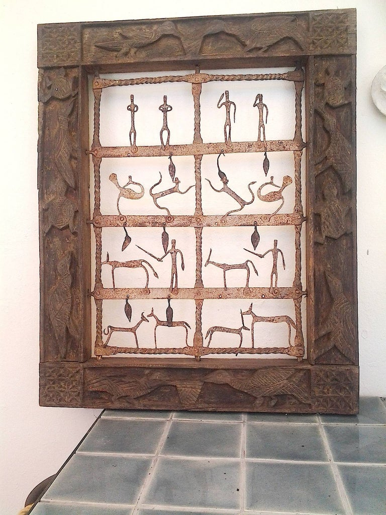 Architectural Wood Carved Animals Window Wall Panels