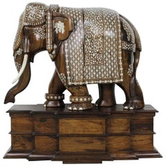 Anglo-Indian Huge Wood Bone Ornate Elephant Sculpture with Bone Tusks-c.1860