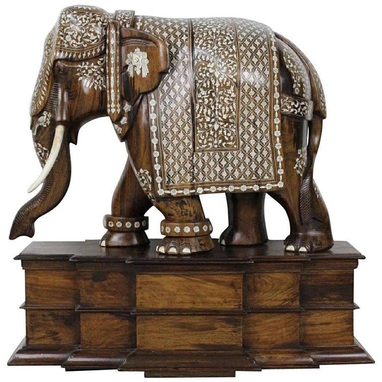 Anglo-Indian Huge Wood Bone Ornate Elephant Sculpture
